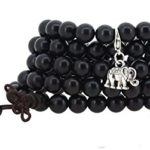 Tibetan 108 Zen Buddhist Dark Brown Prayer Beads Mala Necklace Bracelet with a Charm