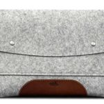 Pack & Smooch iPad Pro 10.5″ Case Sleeve Cover – 100% Wool Felt And Vegetable Tanned Leather – Gray / Light Brown