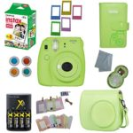 Fujifilm Instax Mini 9 Instant Camera – 10 Pack Accessory Camera Bundle – 20 Instax Film – Camera Case – Instax leather Album – 4 AA Rechargeable Batteries & Charger – And Much More (1 Year Warranty)