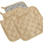 100% Cotton Kitchen Everyday Basic Terry Pot holder Heat Resistant Coaster Potholder for Cooking and Baking Set of 5 Light Brown