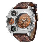 Oulm 1349 Mens Watch Analog Dark Brown Leather Strap 4 Sub-dials