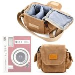 Light Brown Medium Sized Canvas Carry Bag With Multiple Pockets & Customizable Interior – Compatible with the Lomo'Instant Automat – by DURAGADGET
