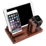 Wooden Ipad Stand JUN-Q Wooden Charge Dock Holder for iWatch and Docking Station Cradle Bracket for iPod, iPhone, iPad and Smartphones and Tablets, Dark Brown