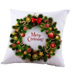 Happy Christmas Throw Pillow Case Square Sofa Cushion New Pillow Cover Home Decoration by Keepfit (18″x18″, Wreath)