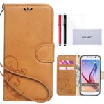 ACO-UINT Premium Vintage Emboss Flower Leather Wallet Case,Samsung S6 Case,Galaxy S6 Case,S6 Wallet Case,Folio Flip Book Magnetic Cover Strap Case for Samsung Galaxy S6[Light Brown]