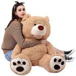 MEL Toy Plush Teddy Bear with Big Foot Print Smiling Face Stuffed Teddy Bear Toy(100cm\39″,Light Brown)