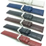22mm, 24mm wide, Mens' Waterproof, Alligator Style Genuine Leather Watch Band Strap, Mat Finish, Comes in Black, White, Grey, Royal Blue, Brown and Red
