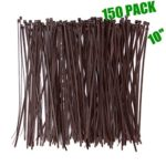 Wide 10 Inch 150 Pack Strong Wood Brown Color Standard Durable Cable Zip Ties Wood Color–Outdoor, Garden, Office and Kitchen Use
