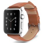 PASBUY 93B-42 Vintage Genuine Leather Strap Stainless Metal Buckle for Apple Watch Series 3, 2, 1, Sport, Edition 42mm (Light Brown)