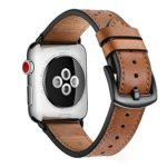 Zeiger 42mm Apple Watch band iWatch Leather Replacement Bands straps for series 1 2 3 dressy classic buckle Men Women (42mm, Brown)