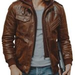 FLAVOR Men Brown Leather Motorcycle Jacket With Detachable Hooded (CN XL(US Large), Brown)