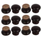 uxcell Cabinet Drawer 34mmx26mm Single Hole Wooden Pull Knobs Handles Dark Brown 12pcs