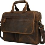 Iswee Leather Vintage Style Messenger Bag Portfolio Briefcase 14″ or 16″ or 17″ Laptop Case for Men Attache Case (Large Dark Brown)