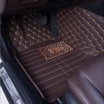 Okutech Custom Fit XPE Leather 3D Full Surrounded Waterproof Car Floor Mats for Mercedes Benz E Class E200 E260 E300 E350 E260L E300L, Dark brown Embroidering Sewing