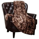 Chanasya Super Soft Fuzzy Fur Faux Fur Cozy Warm Fluffy Beautiful Color Variation Print Plush Sherpa Chocklate Fur Microfiber Throw Blanket (50″ x 65″) – Coffee Brown Waivy Fur Pattern