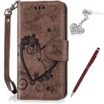Galaxy S7 Case,Galaxy S7 Cover,ikasus Embossing Love Butterfly Flower Flip Folio Wallet Case PU Leather Scratch Resistant Stand Card Slots Protective Case +Touch Pen Dust Plug for Galaxy S7,Brown