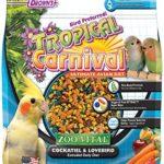 F.M. Brown's Tropical Carnival Zoo-Vital Cockatiel & Lovebird Pellet Daily Diet with Probiotics for Healthy Digestion, Grain-Free, Rice-Based Formula, 100% Edible, Prevents Selective Eating, 2lb