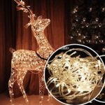 Autolizer 100 LED WARM WHITE Fairy String Lights Lamp for Xmas Tree Holiday Wedding Party Decoration Halloween Showcase Displays Restaurant or Bar and Home Garden – Control up to 8 modes
