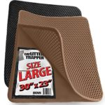 Large Cat Litter Trapper Mat With Exclusive Urine/Waterproof Layer. Larger Holes with Urine Puppy Pad Option for Messy Cats. Soft on Paws and Light. By iPrimio. (Brown Color)