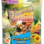 F.M. Brown's Tropical Carnival Fruit & Nut Cockatiel, Conure and Lovebird Treat with Natural Fruits, Nuts, Seeds and Veggies, Treat Bits Designed for Small Hookbills, 8oz