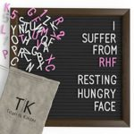 Black Felt Letter Board with Dark Coffee Brown Frame by Titan & Kaizer – 10×10 Inch Changeable Letter Board with White Letters & Characters and Pink Letters & Characters (Black)