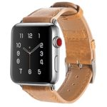 Vitech Apple Watch Band 42mm Genuine Leather iwatch Strap Replacement Band with Stainless Metal Clasp for Apple Watch Series 3 Series 2 Series 1 Sport and Edition (Light Brown)