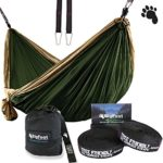 BigFoot Outdoor Double Tree Hammock Suspension System – w/ XL Straps – 34 Loops Total – Over 10.6 feet Long – 6.6 feet wide – 4 Steel Carabiners + Strap Carrying Pouch (Brown/Dark Green)