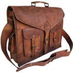 KPL 18 Inch Rustic Vintage Leather Messenger Bag Laptop Bag Briefcase Satchel bag