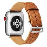 Apple Watch Band 38mm,TOKASA Woven Texture Genuine Leather Iwatch Strap Replacement Bands with Stainless Metal Clasp for Apple Watch Series 3 Series 2 Series 1 Sports Edition mens womens (Brown)