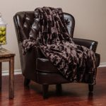 Chanasya Super Soft Fuzzy Fur Elegant Faux Fur Rectangular Embossed Pattern With Fluffy Plush Sherpa Cozy Warm Dark Chocklate Microfiber Throw Blanket (50″ x 65″) – Dark Brown
